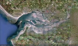Google Earth's view of the Burry Inlet, showing clearly the treacherous sandbanks and channels