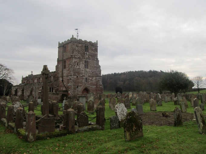 Arthuret church: probably not the burial place of King Arthur. Probably.  (But the hill on the right was the English army's position during the Battle of Solway Moss.)
