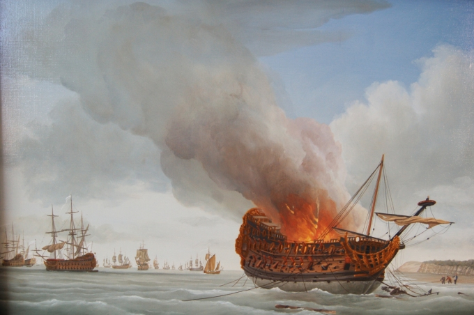 The aftermath of the battle: Richard Endsor's painting of the burning of the third rate Anne at Pett level, where her remains can still be seen (see previous posts on this blog)
