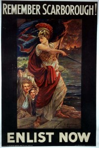 Britannia demands revenge for the German raid on Scarborough, 16 December 1914
