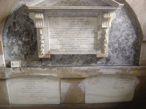 John Byng's niche at bottom left, beneath that of his father George, Viscount Torrington