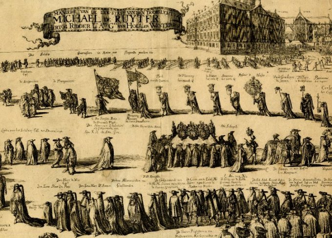 De Ruyter's funeral procession, Amsterdam, 1677
