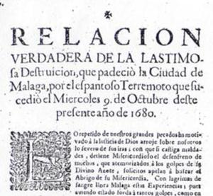 Contemporary account of the Malaga earthquake