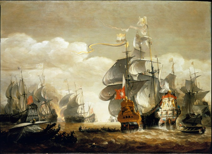 The Battle of Lowestoft, 3 June 1665, showing the 'Royal Charles' and the 'Eendracht'. Hendrik van Minderhout. National Maritime Museum