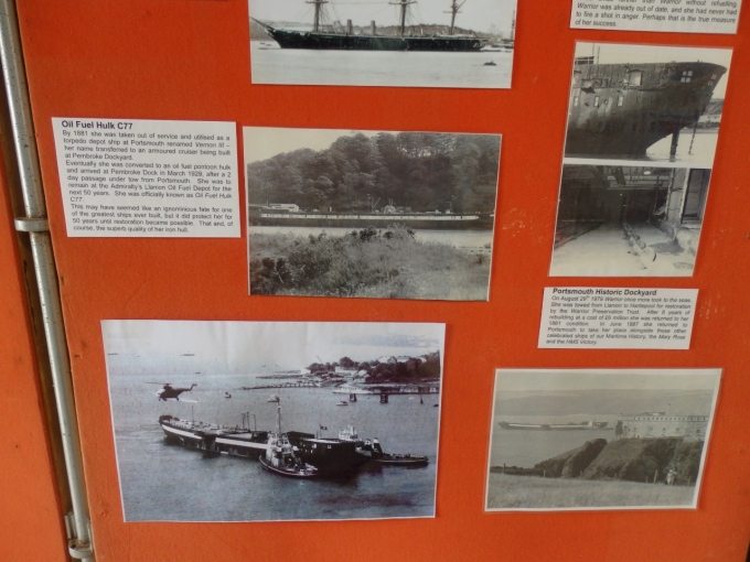 Display about the time that HMS Warrior (1860), the world's first ironclad battleship, spent as an oil fuel jetty at Pembroke Dock