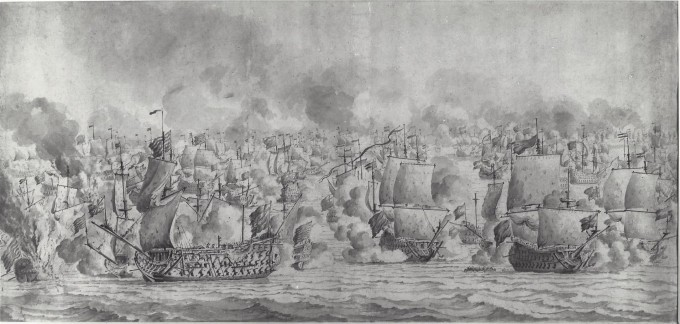 A good Van de Velde drawing of the Texel, NMM PAJ2525. The Prince beleaguered at left with Tromp's Gouden Leeuw off her starboard side and a Dutch fireship burning ahead of her. At right, Spragge leaving the St George in a boat, his flag being taken in at the main, with the Royal Charles in starboard bow view at centre. Firepoles, seldom seen in battle drawings, extend from the ships' bows and quarters.
