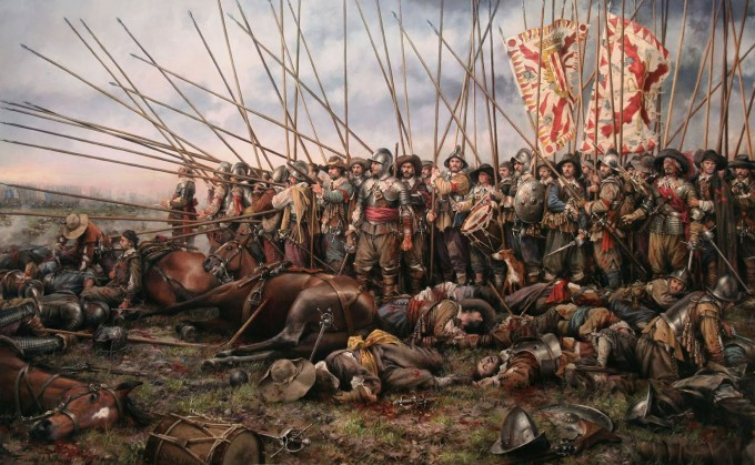Augusto Ferrer-Dalmau's painting of a scene from one of the great battles of the Thirty Years War, Rocroi 1643
